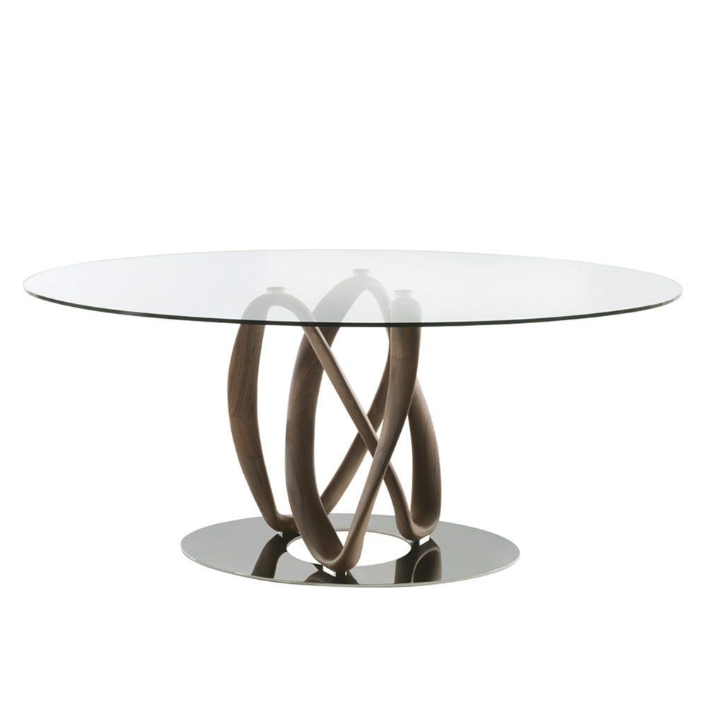 Infinity Elliptical Table Glass, Canaletta Walnut & Chrome