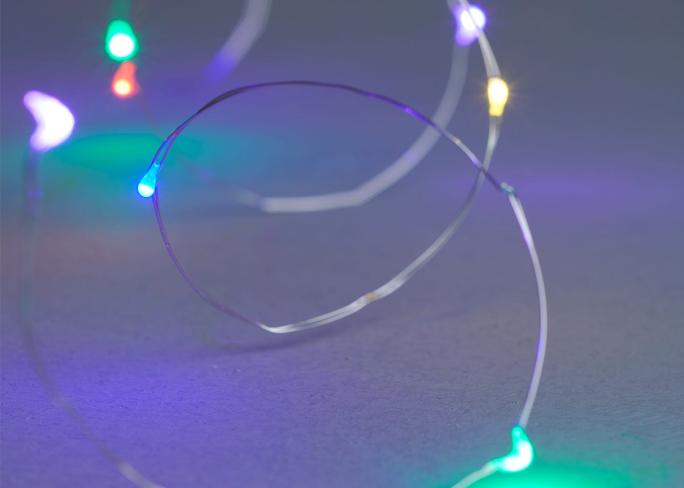 40 multicoloured LED lights on silver wire