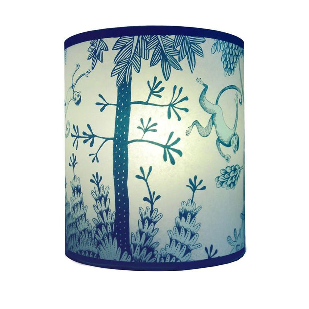 Lush Designs Monkey Lampshade Blue Small Lamp Fitting