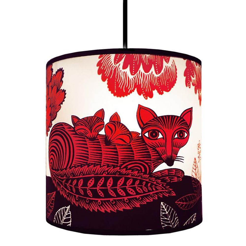 Lush Designs Fox and Cubs Lampshade Red Small Lamp Fitting