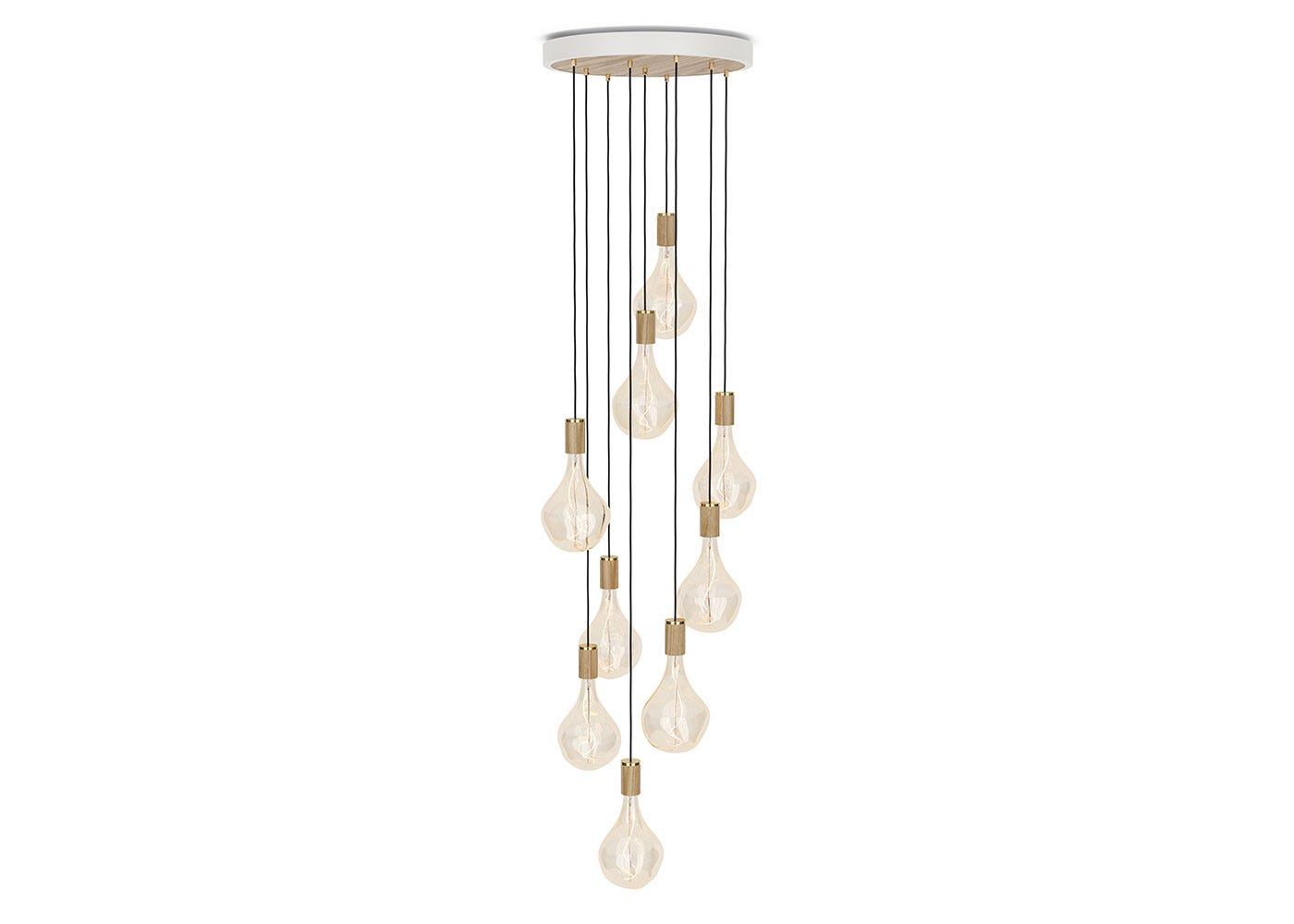 As Shown: Large White Canopy With 9 Pendants and 9 Voronoi II Bulbs in Oak