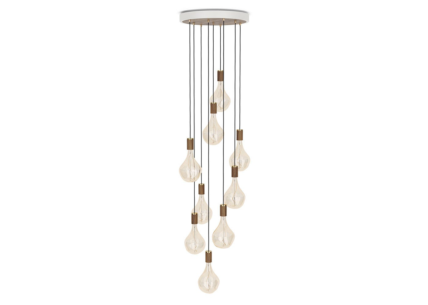 As Shown: Large White Canopy With 9 Pendants and 9 Voronoi II Bulbs in Walnut