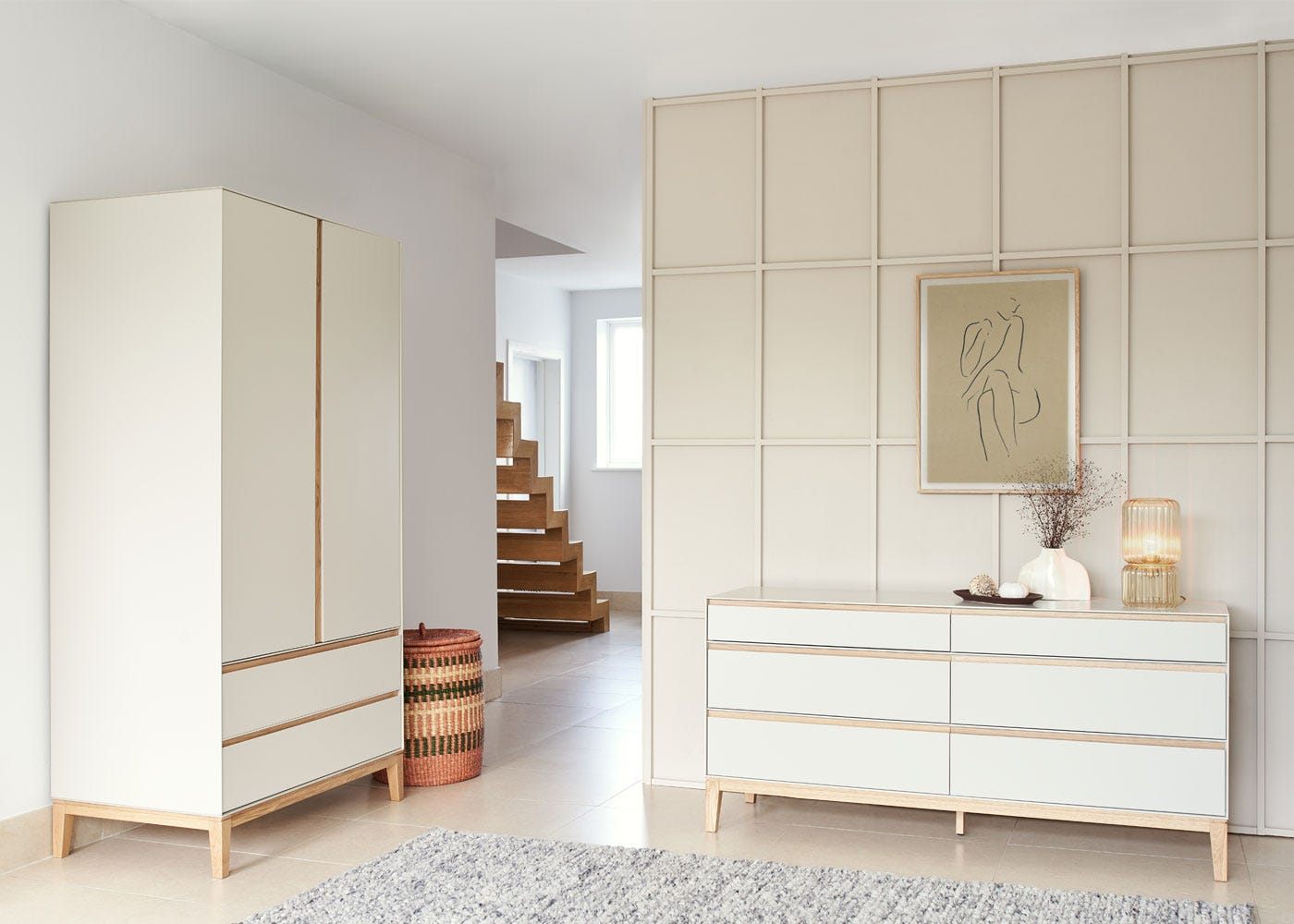 As shown: Lars wardrobe cashmere, Lars 6 Drawer chest cashmere.