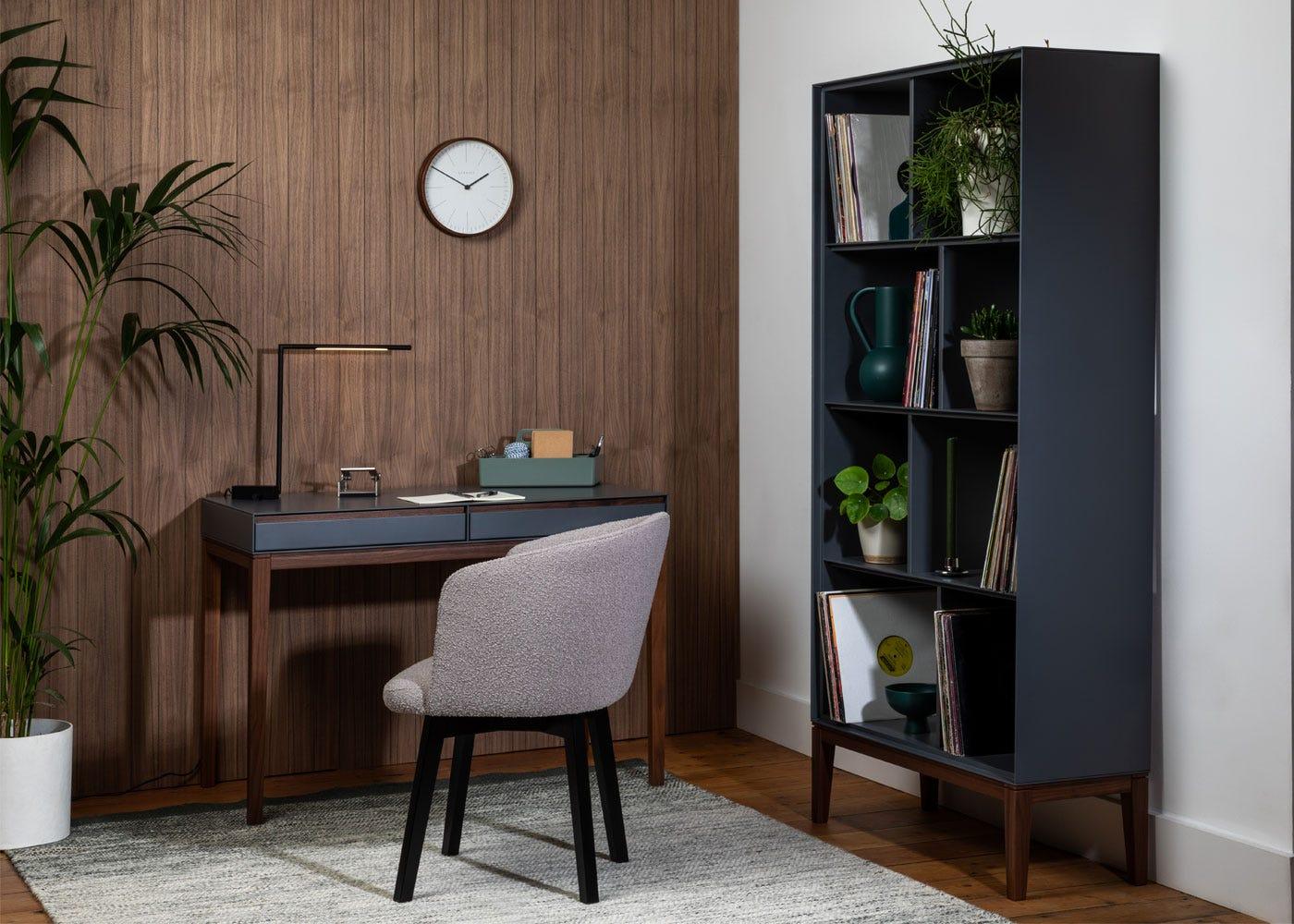As shown: Lars desk, Lars bookcase, Edit swivel office chair, Saber LED desk lamp black.