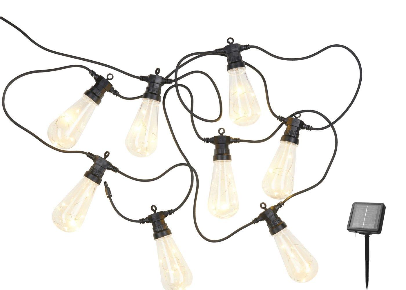 As shown: Lasse Solar Outdoor String Lights Clear Starter Set