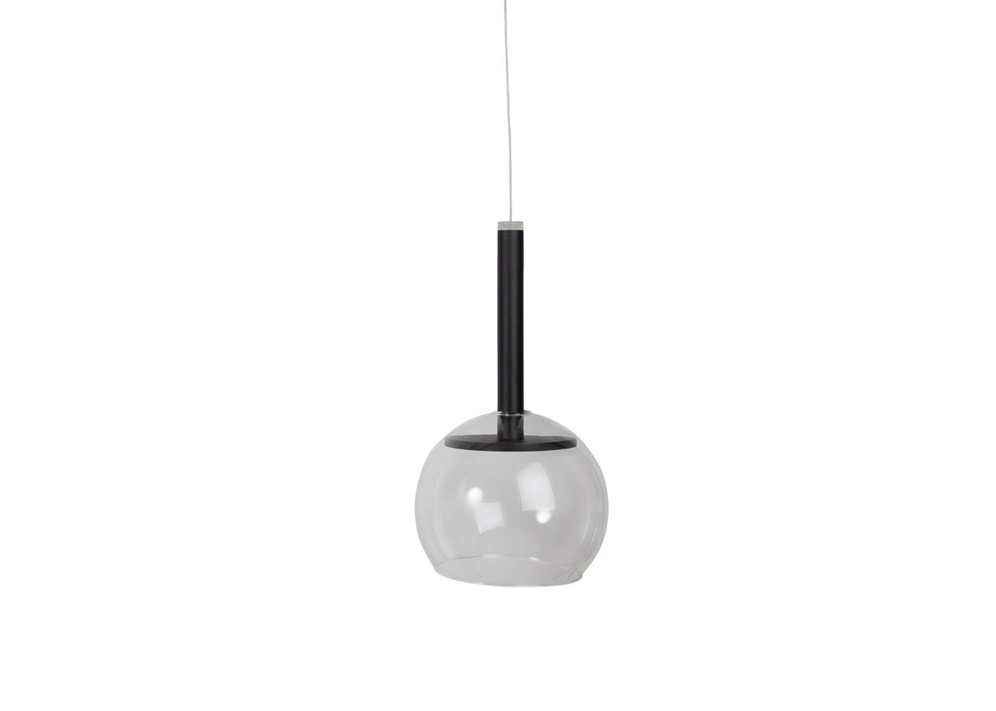 As shown: Disc long LED pendant in black with clear glass shade (sold separately) - off.