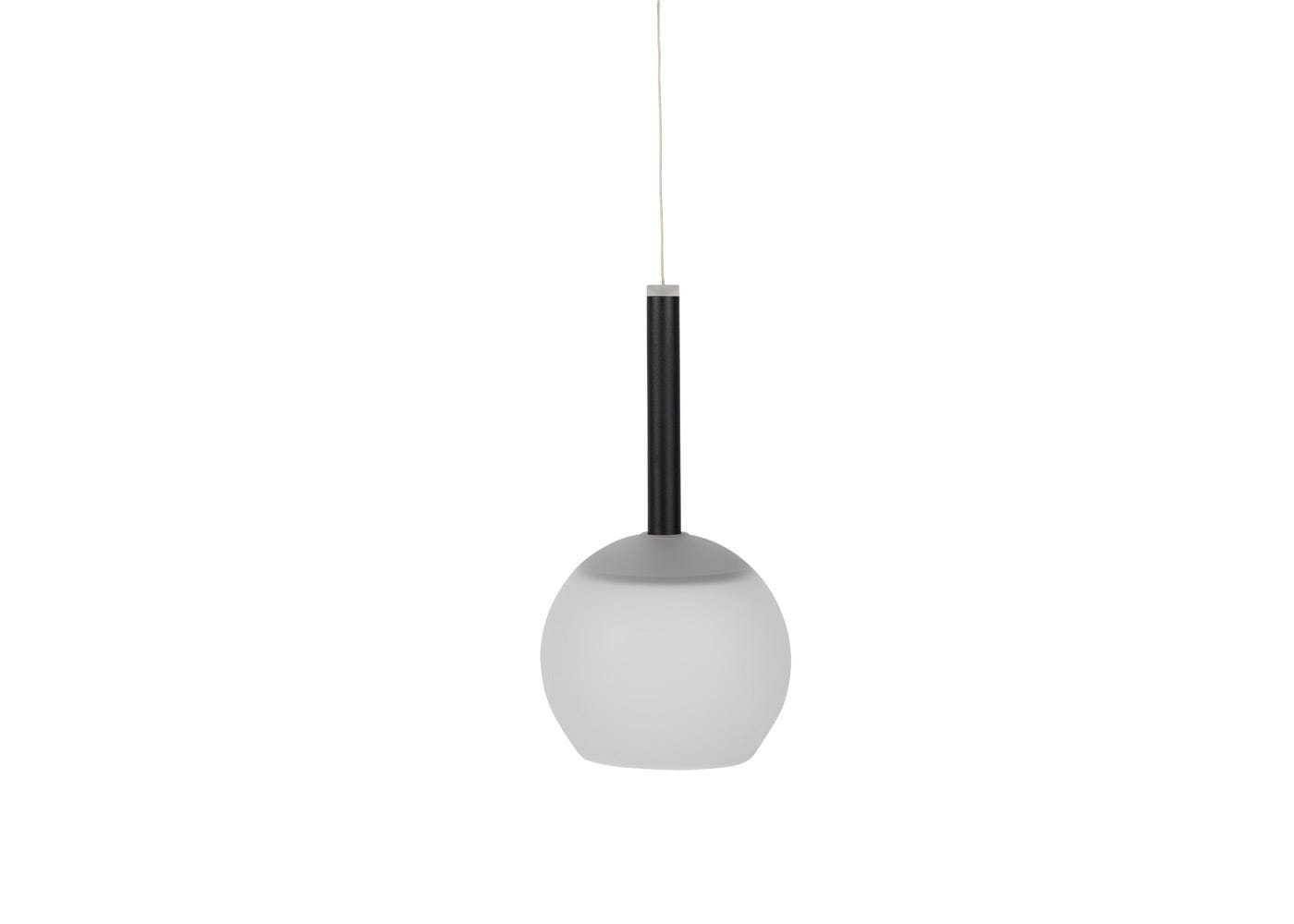 As shown: Disc long LED pendant in black with frosted glass shade (sold separately) - off.