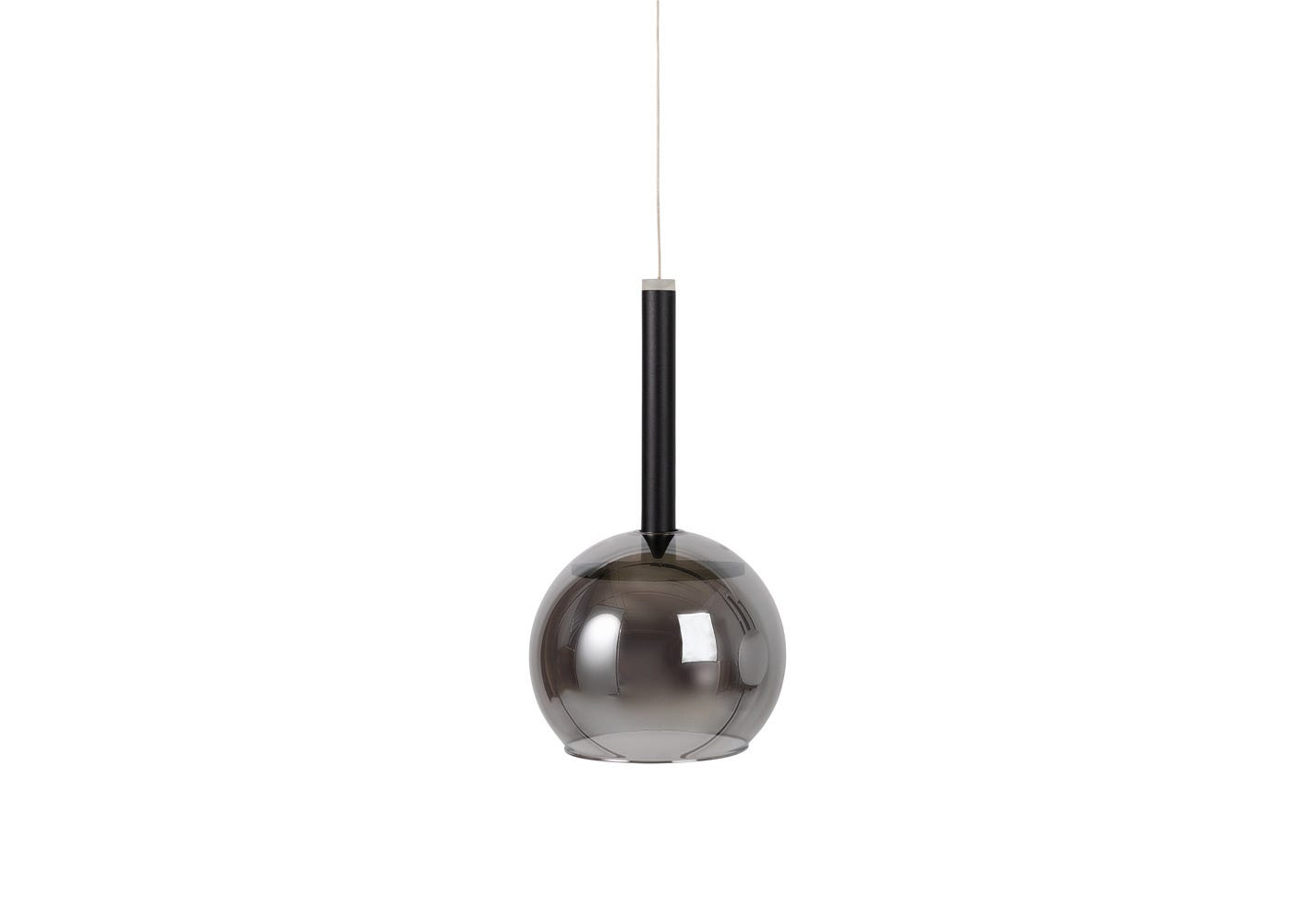 As shown: Disc long LED pendant in black with smoked glass shade (sold separately) - off.