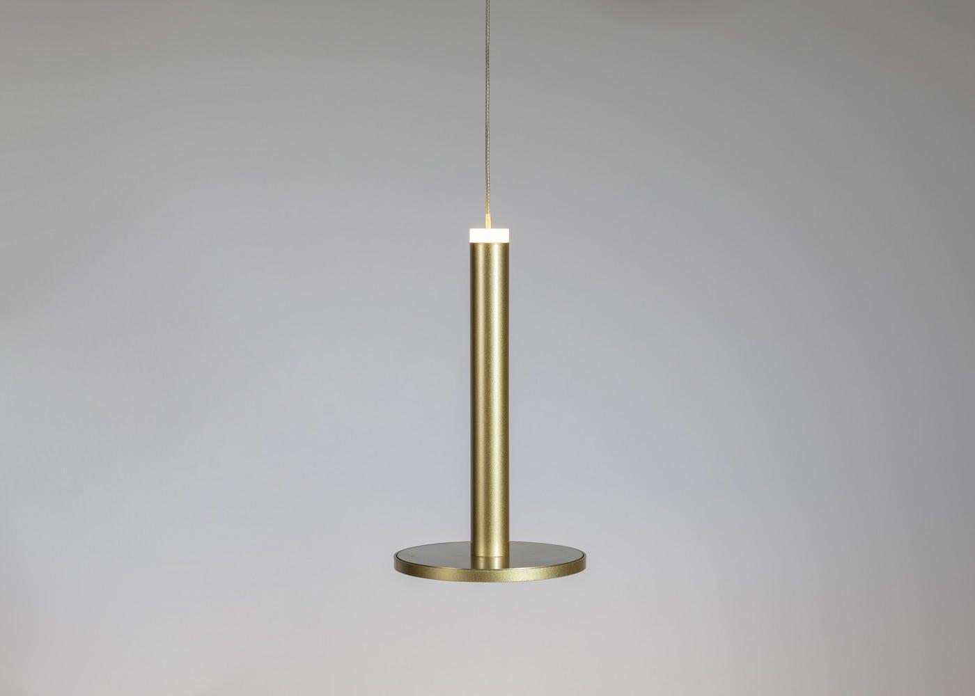 Disc LED Pendant light gold (on).