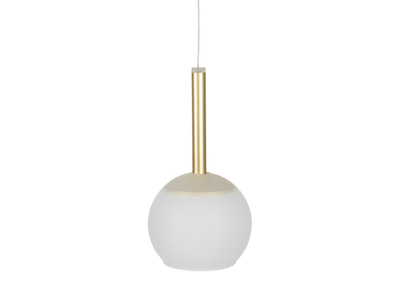 Frosted glass shade with disc long LED pendant in gold off (please note the pendant is sold separately).