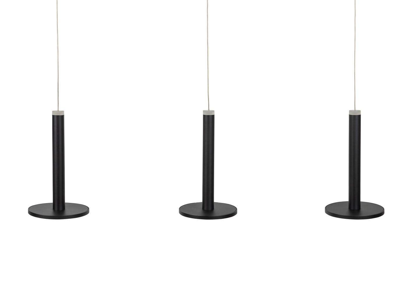 Disc 3 long LED pendant in black.