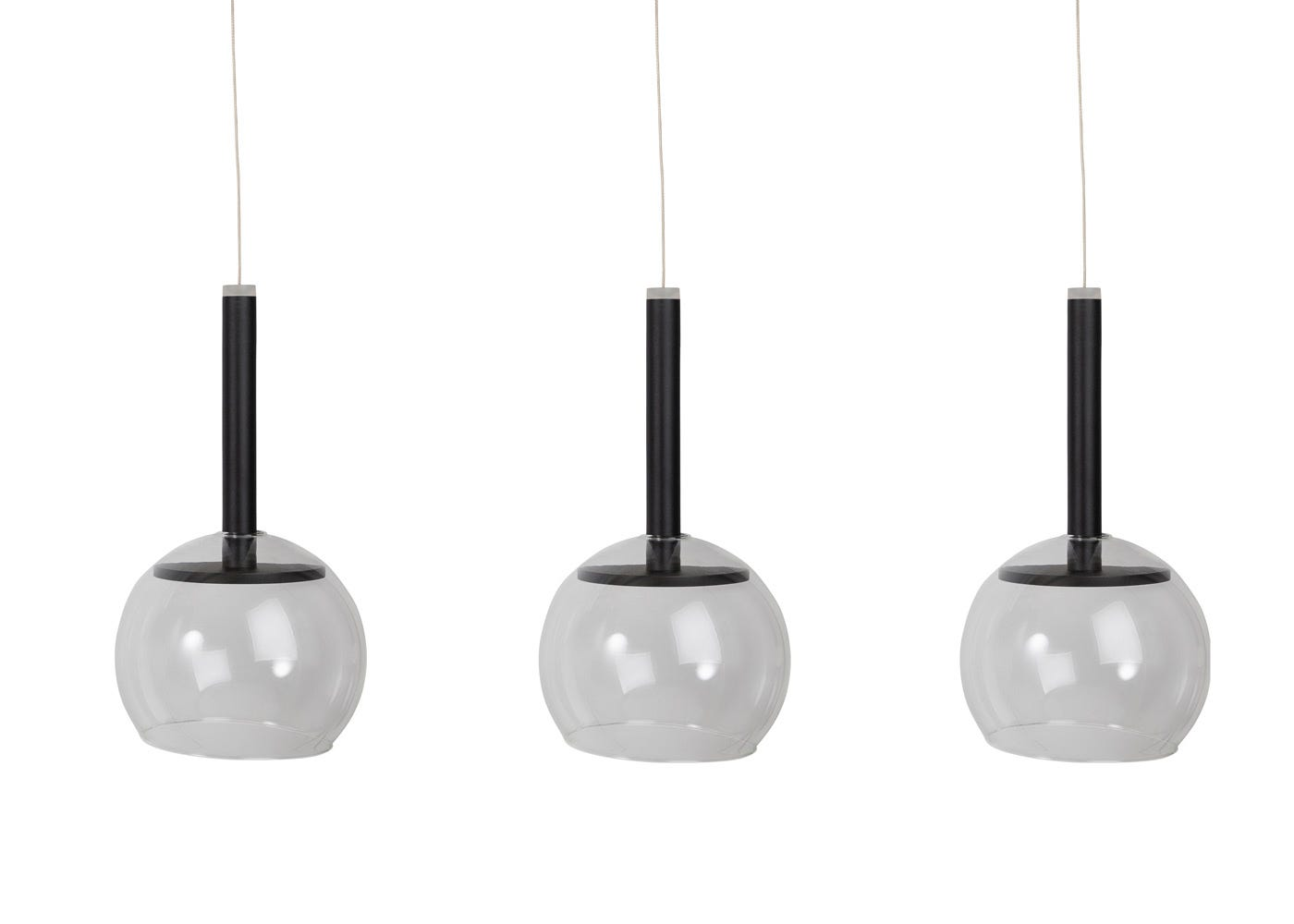 Disc 3 long LED pendant in black with clear glass shades (sold separately).