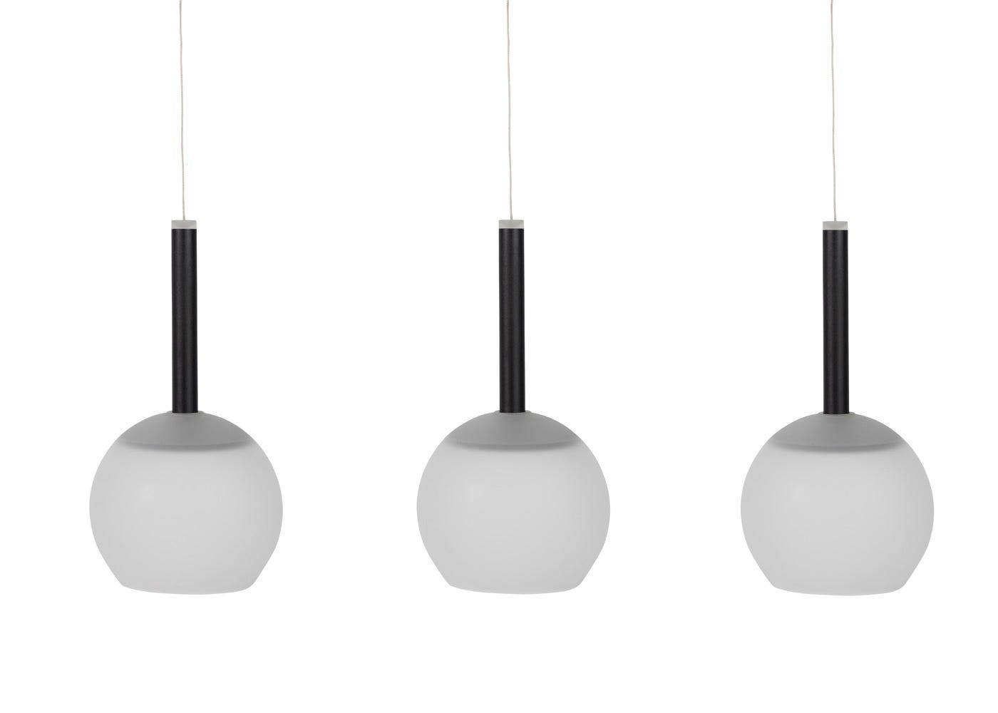 Disc 3 long LED pendant in black with frosted glass shades (sold separately).