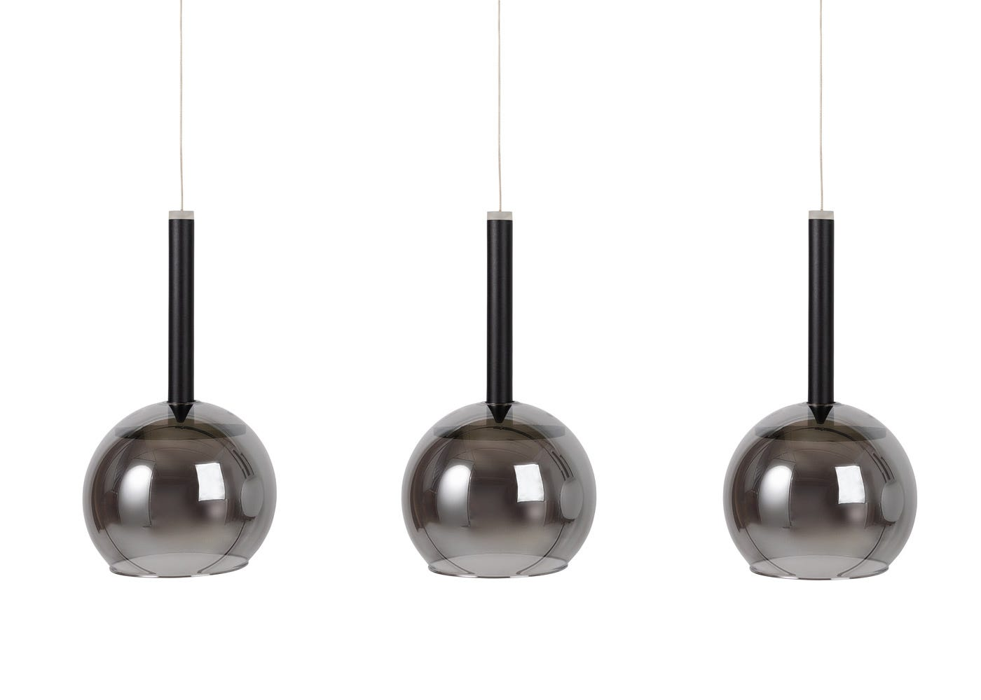 Disc 3 long LED pendant in black with smoked glass shades (sold separately).
