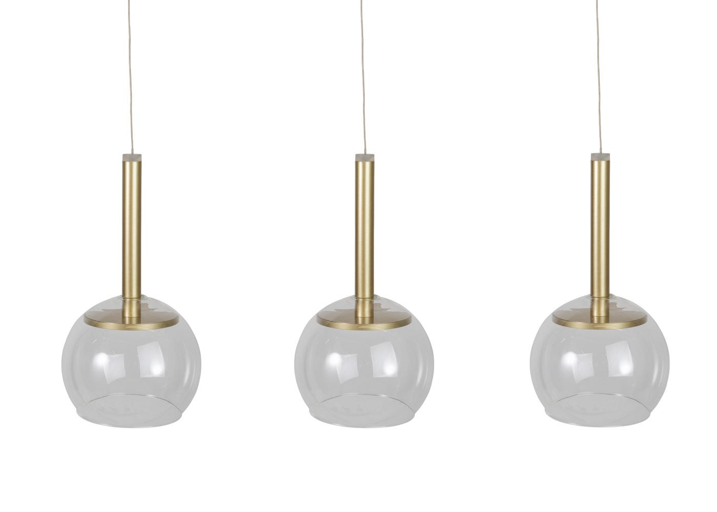 Disc 3 long LED pendant in gold with clear glass shades (sold separately).