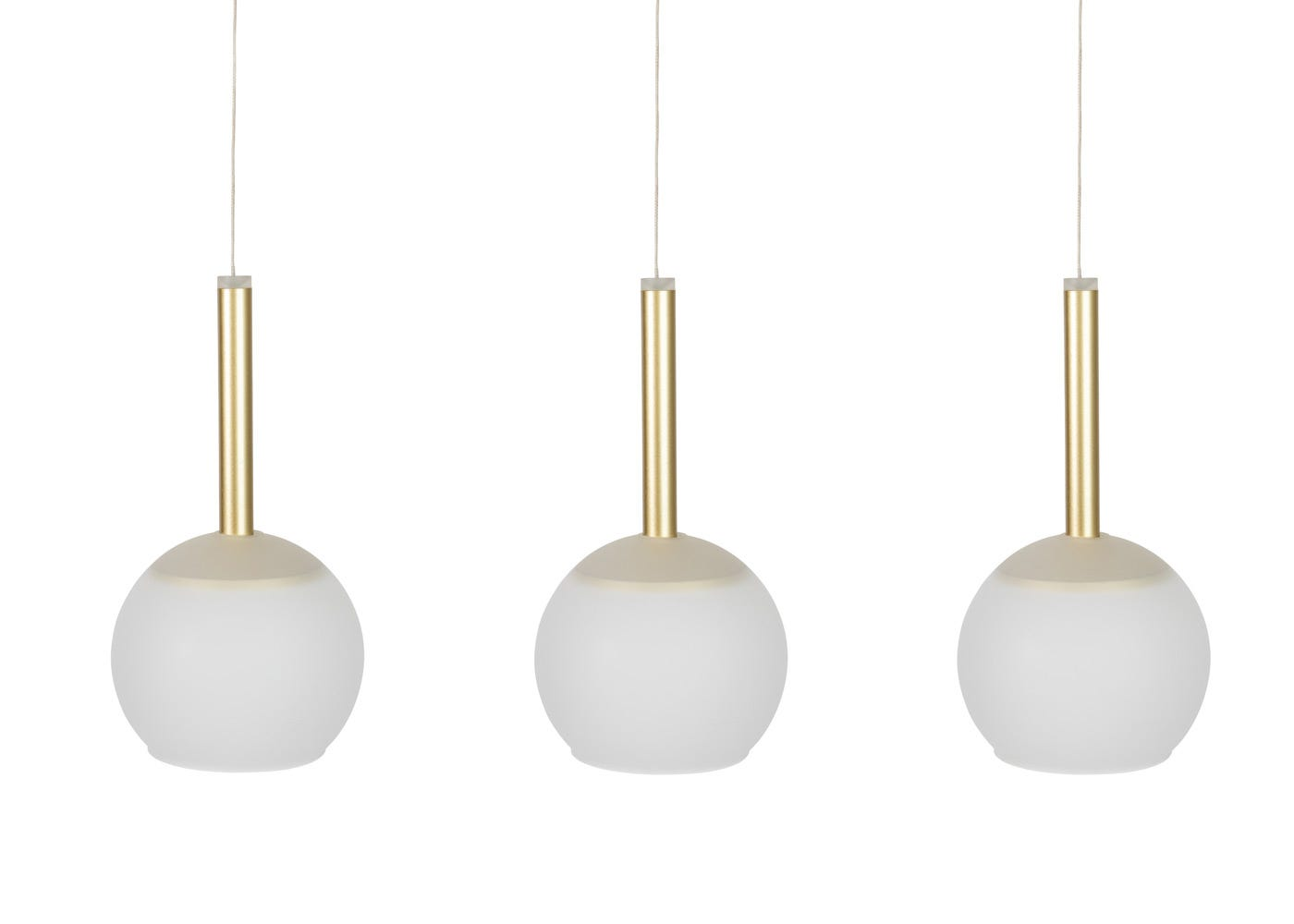 Disc 3 long LED pendant in gold with frosted glass shades (sold separately).