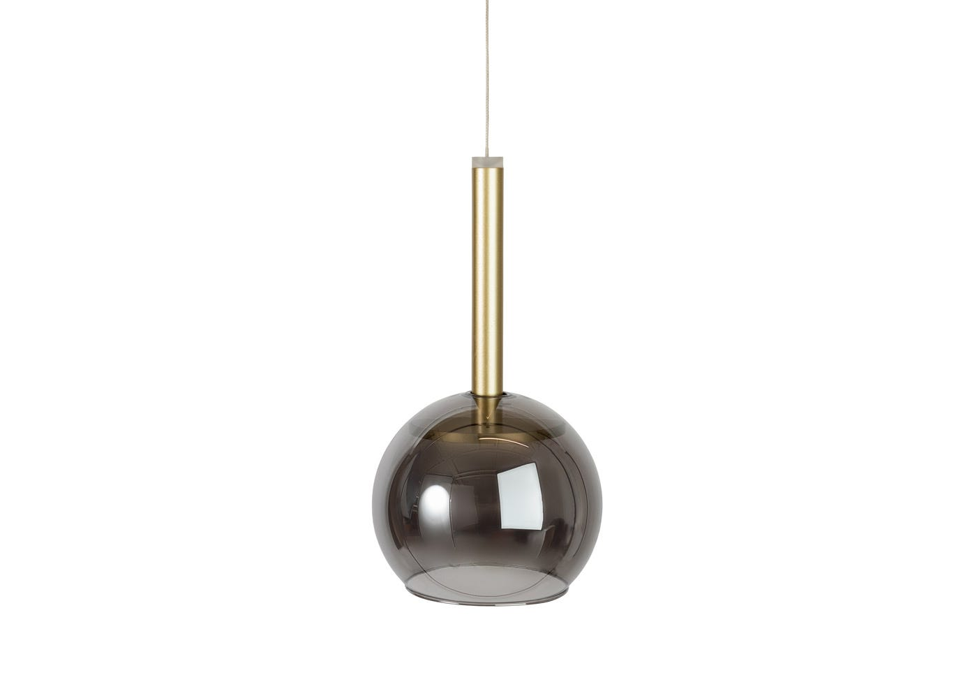 Smocked glass shade with disc long LED pendant in gold off (please note the pendant is sold separately).