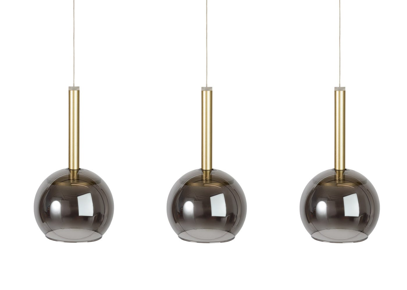 Disc 3 long LED pendant in gold with smoked glass shades (sold separately).