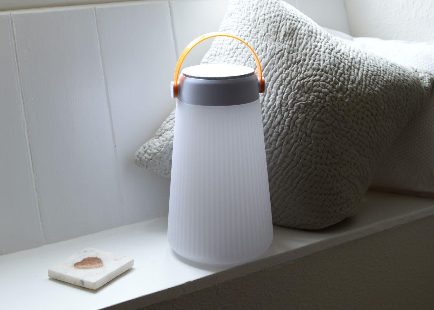 As shown: Lets Go Portable Speaker Lantern - Off.