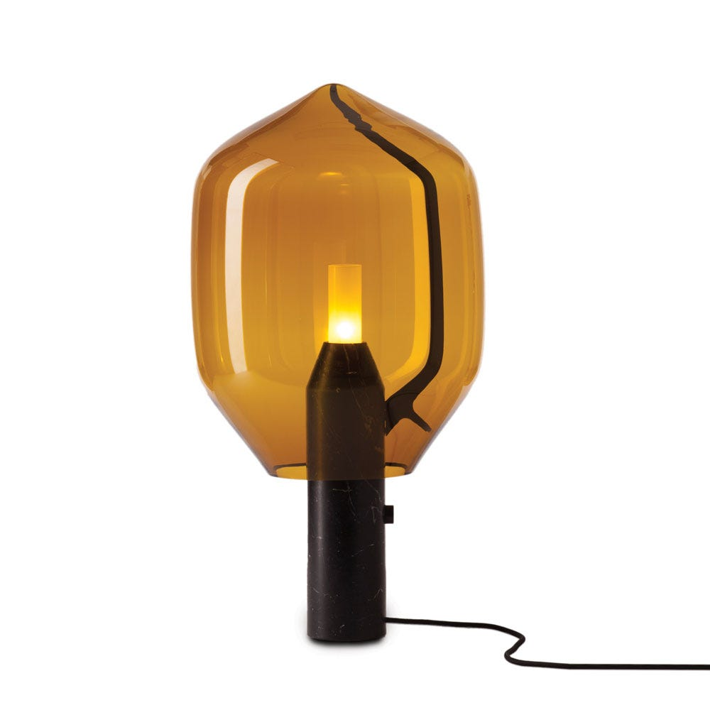 Lighthouse Table Lamp Amber Glass
