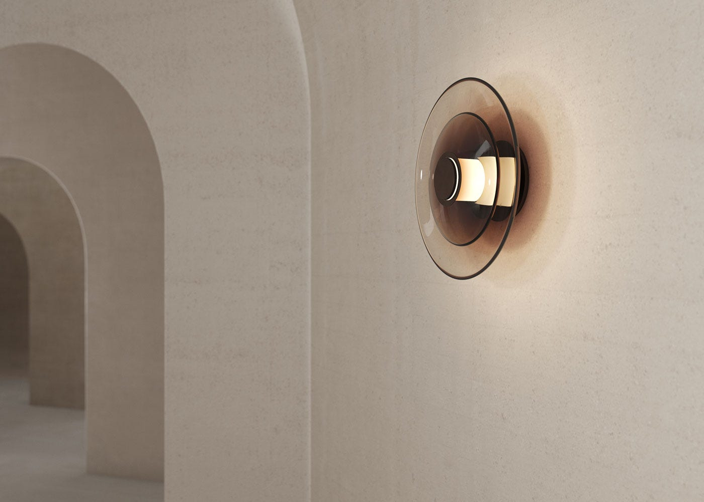As Shown: Luna Disc Wall Light in Brass