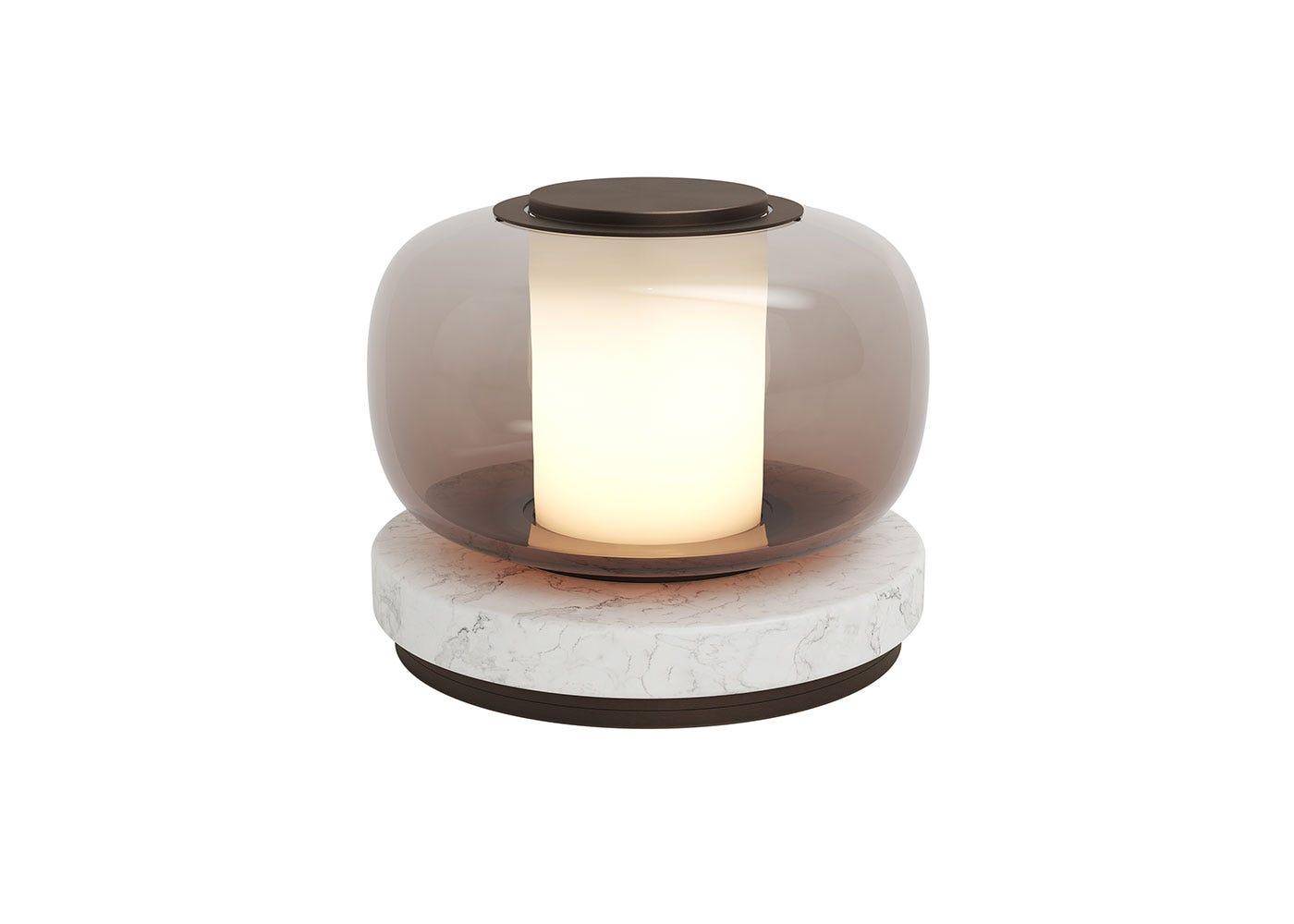 As shown: Luna table lamp bronze.