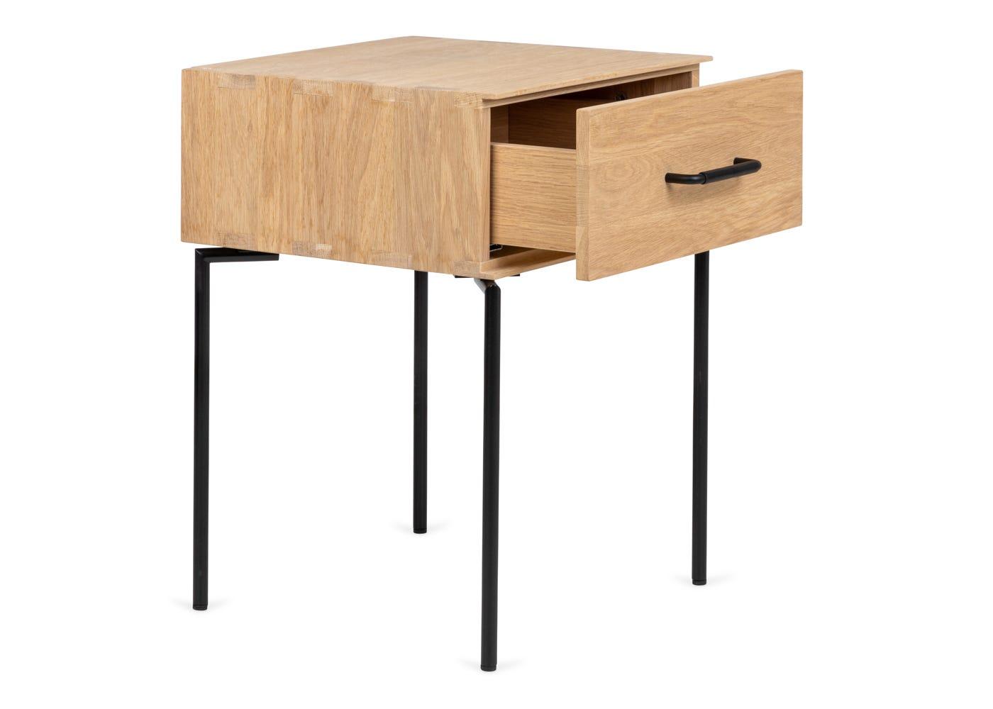 As shown: Marano bedside table - Side profile.