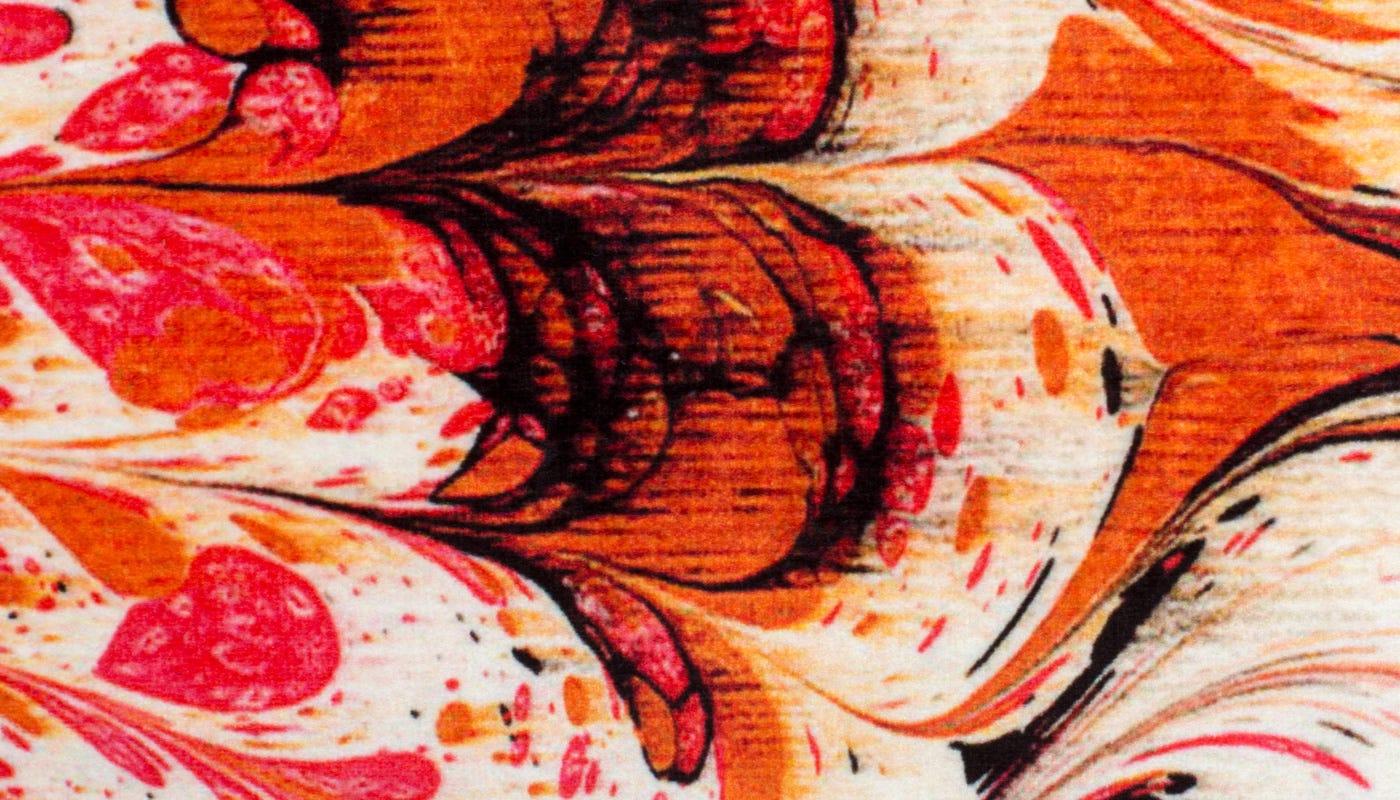 Marble Velvet Cushion Orange - detail
