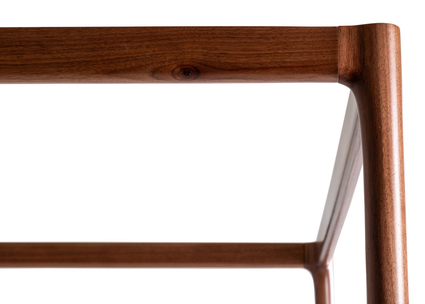 As Shown: Marlow 4 Poster Bed Walnut Frame Detail