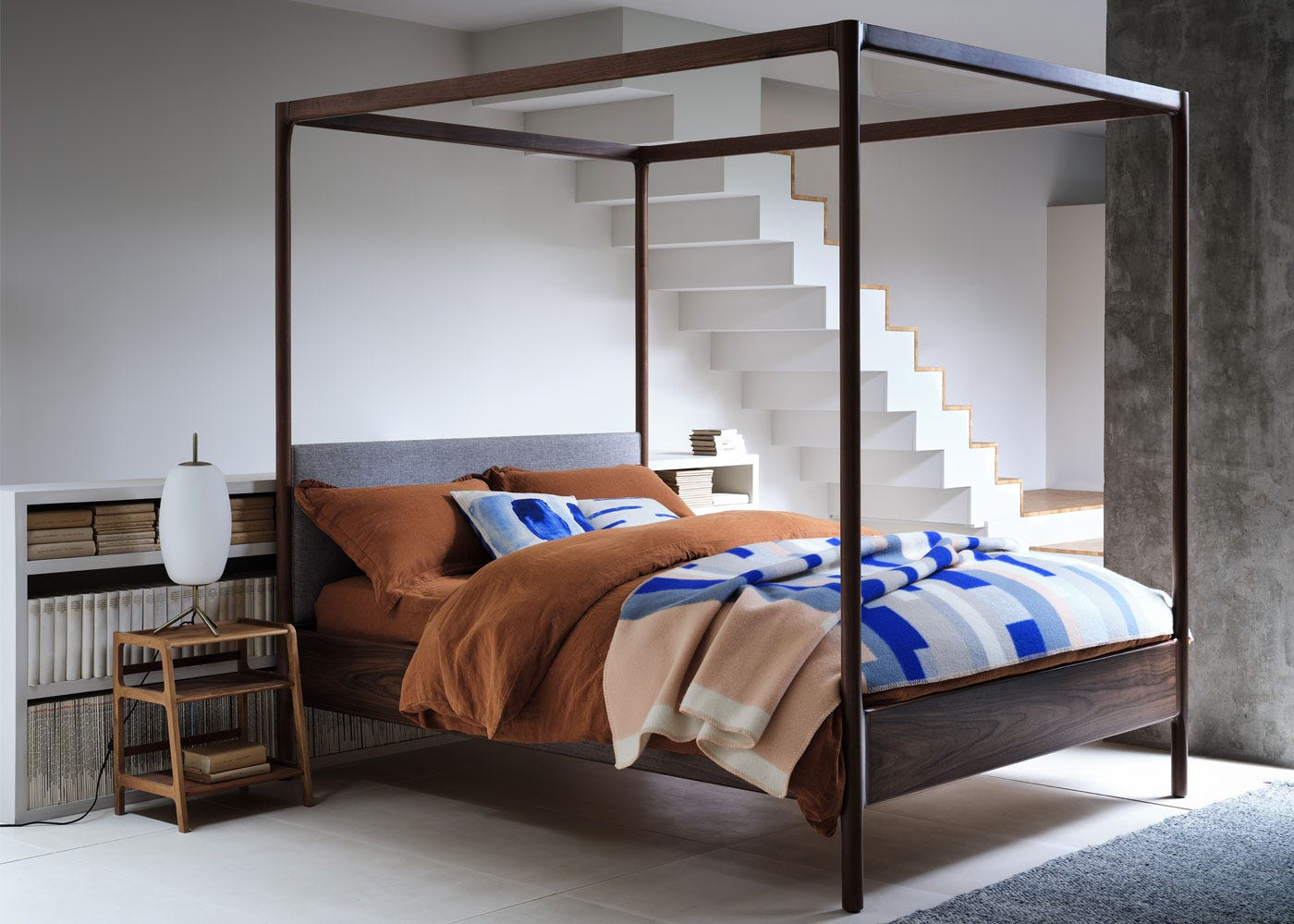 As shown: Marlow 4 poster bed - Side profile.