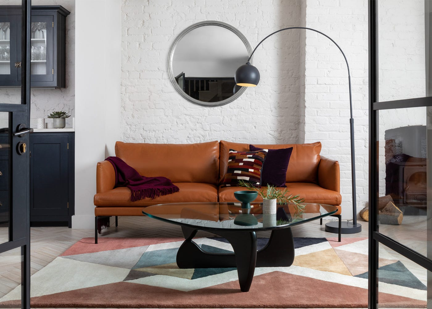 Classic Large Round Mirror in Silver with Matera 3 Seater Sofa and Amazing Rug