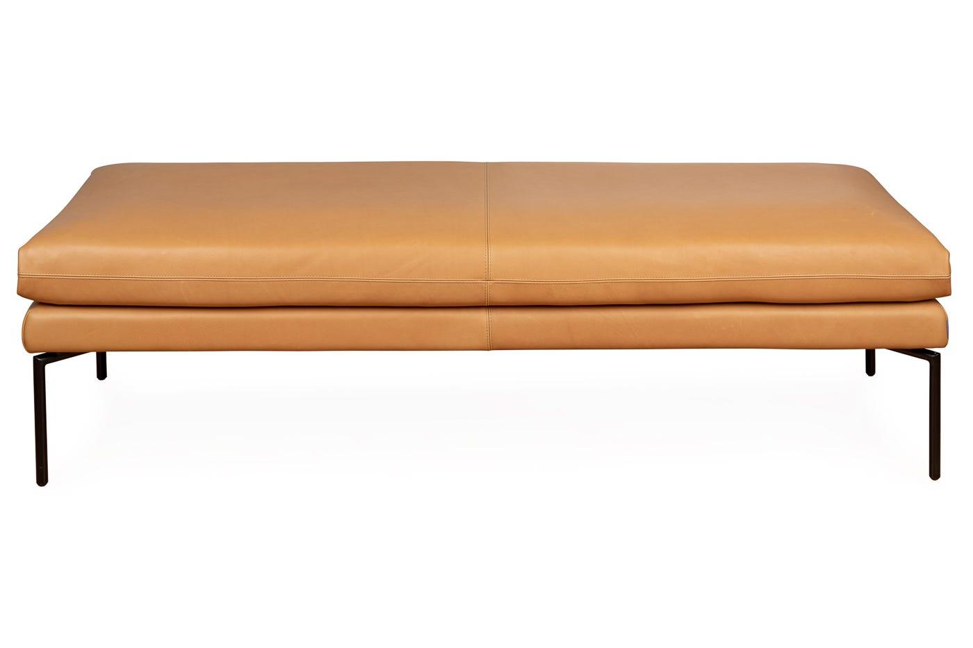 Matera Bench 160cm Daino leather Parchment Black Feet