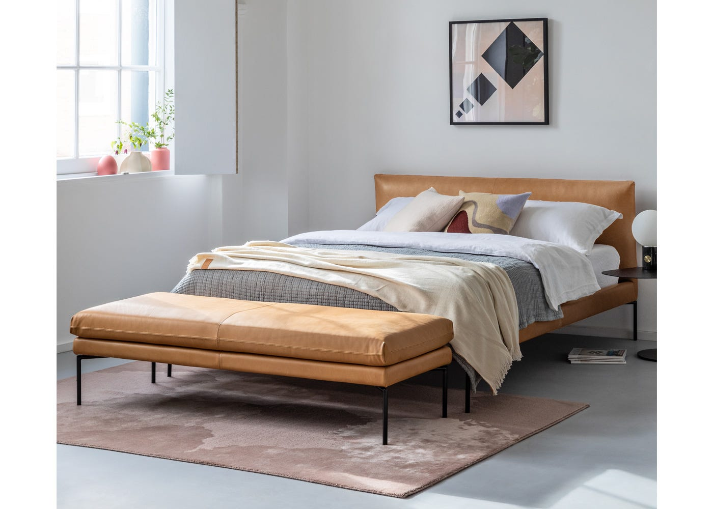 Matera Bed and Bench in Daino Leather Parchment