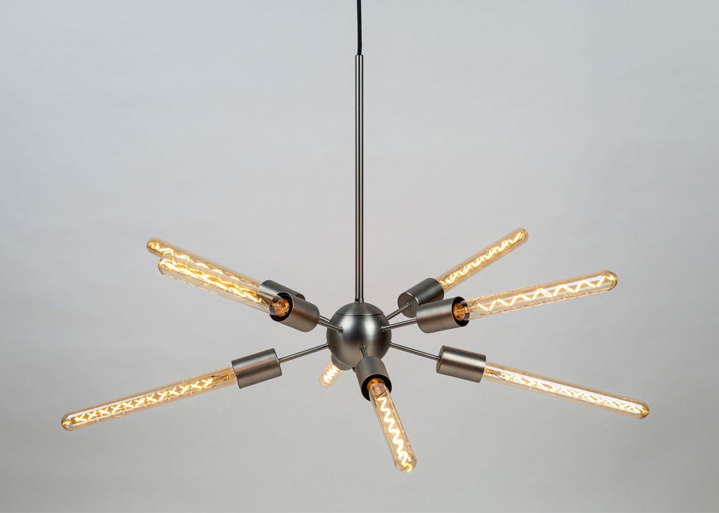 As shown: Satin nickel Junction with Tala Totem III bulbs