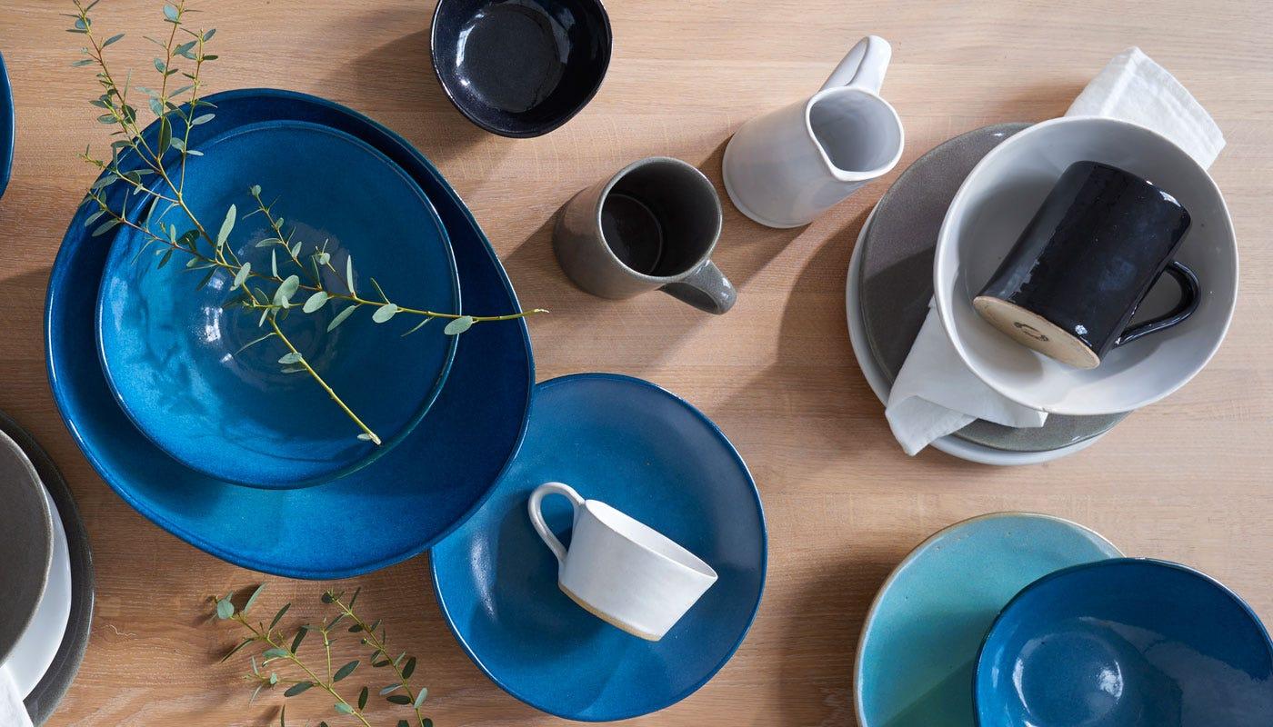 Mervyn Gers Sapphire Glaze, White Glaze, Grey Glaze, Black Glaze and Teal Glaze Dinnerware