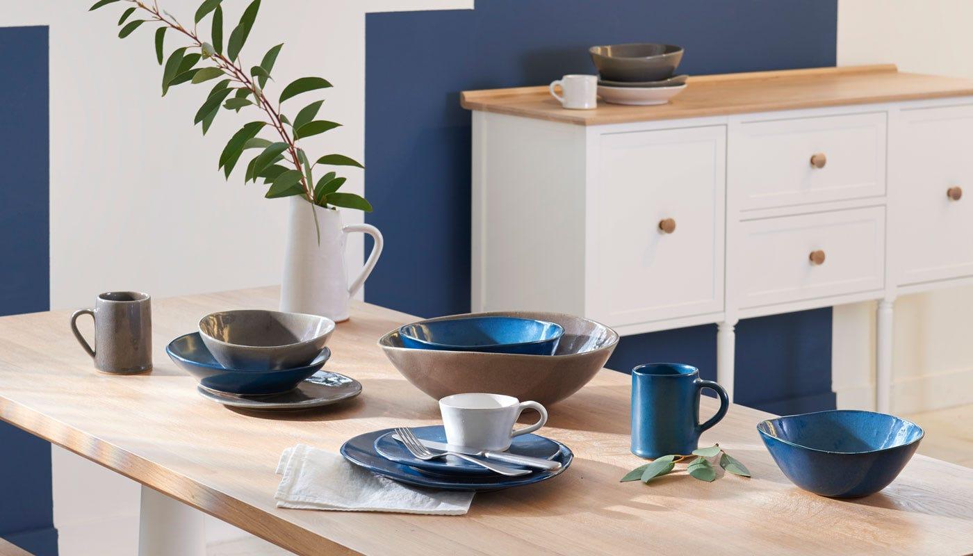 Mervyn Gers Sapphire Glaze, White Glaze, Grey Glaze, and Teal Glaze Dinnerware