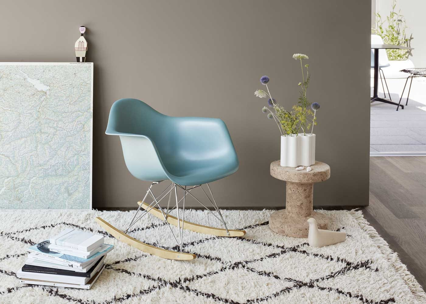 As shown: Eames RAR rocking chair ice grey