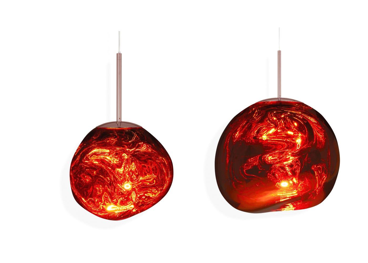From left to right: Copper mini LED light on, Copper standard LED light on