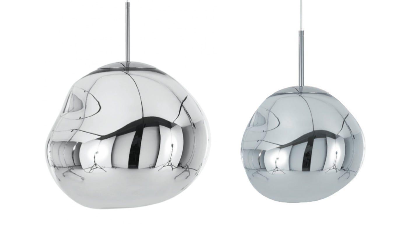 From left to right: Chrome standard LED light off, chrome mini LED light off