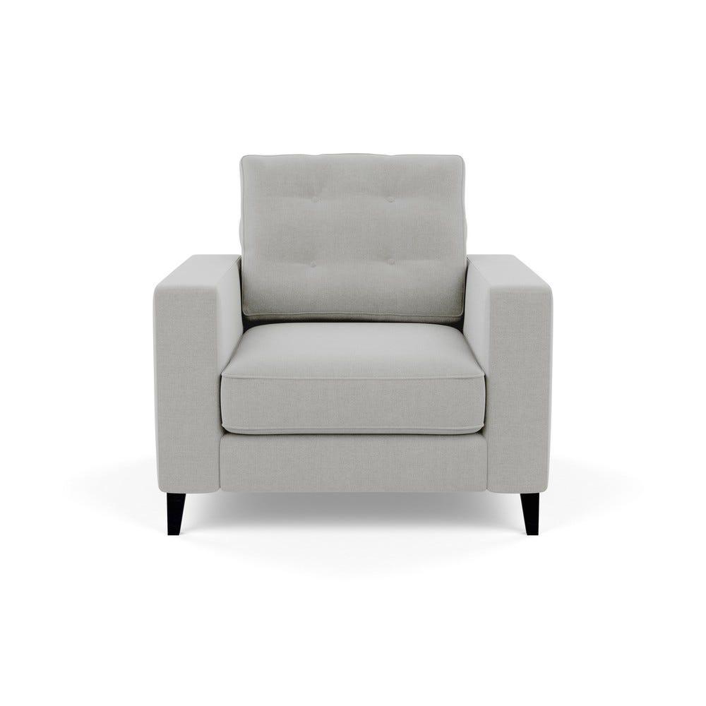 Mistral Armchair Denim Cotton Grey Black Feet
