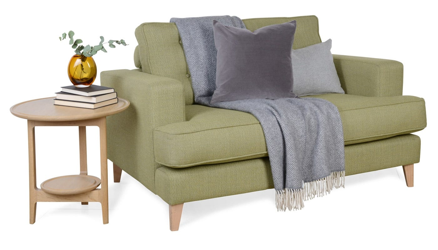 Mistral Loveseat in Boucle Wool Olive - Product for sale is in Wool Felt Armour Grey
