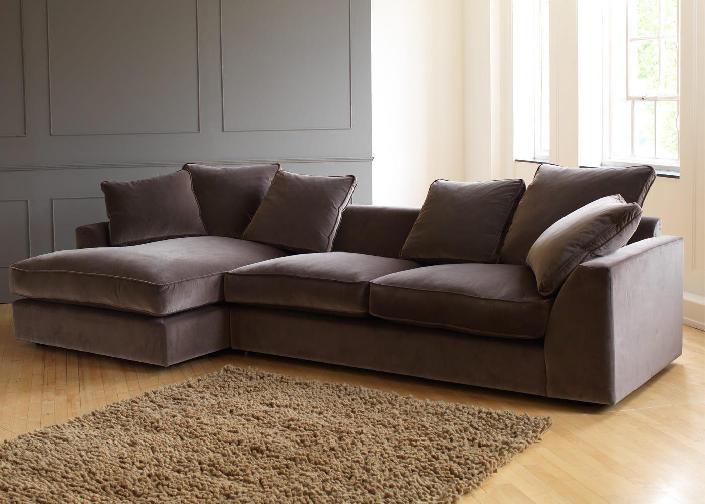 Ulus Left Hand Facing Corner Sofa In Velvet Charcoal