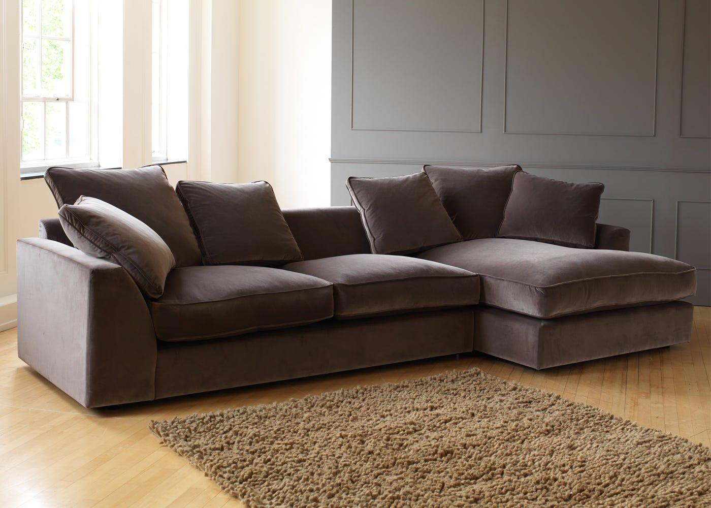 Cumulus Right Hand Facing Corner Sofa in Velvet Mink