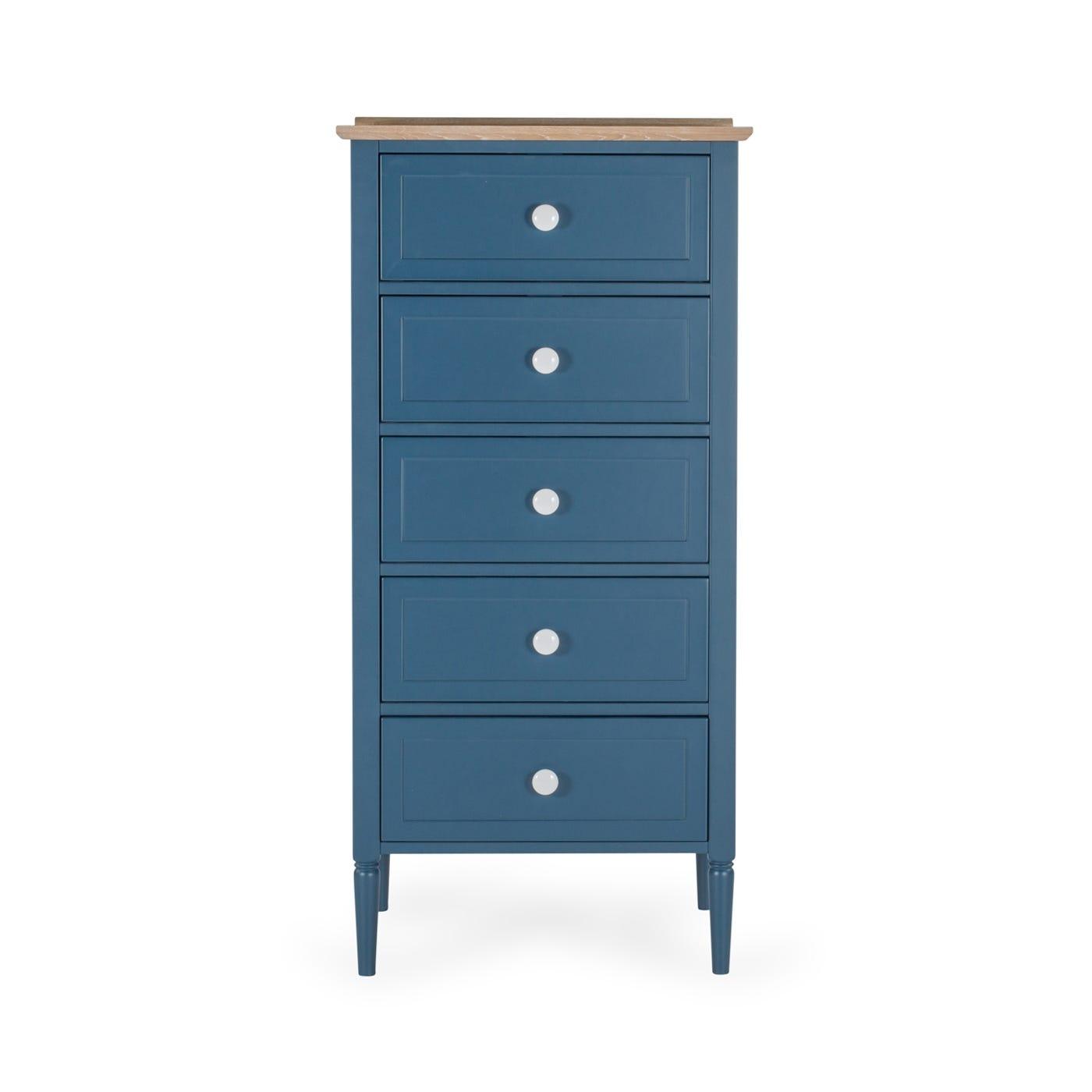 Heal\'s Pinner Tall 5 Drawer Unit Atlantic Blue | HEAL\'S