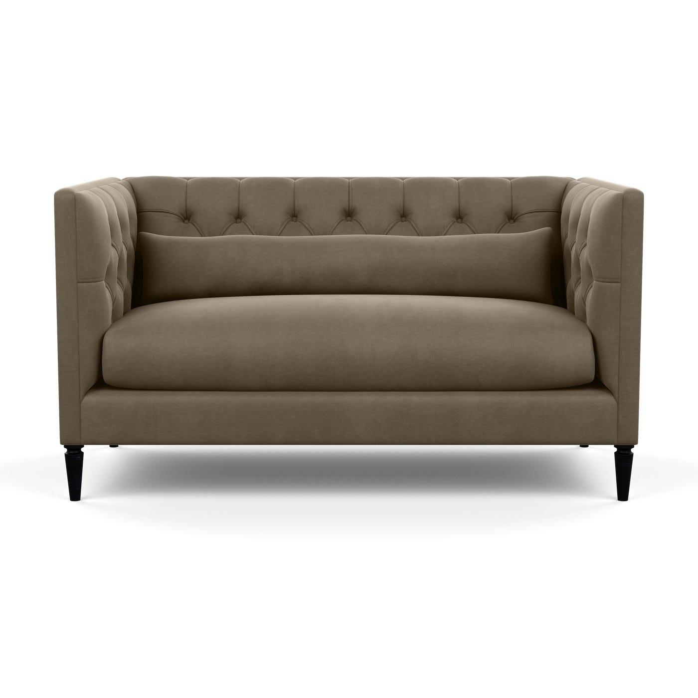 Balmoral 2 Seater Sofa Velvet Mink Black Feet