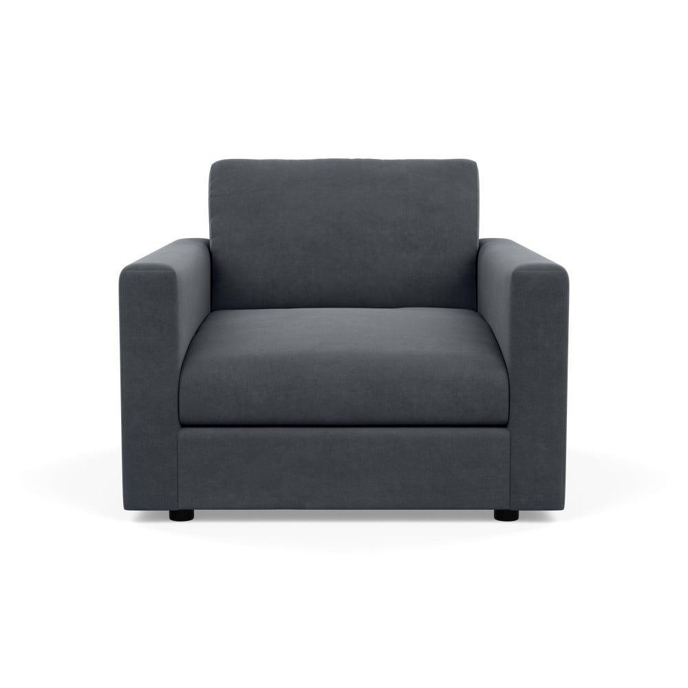 Nimbus Armchair Linen Dark Grey Black Feet