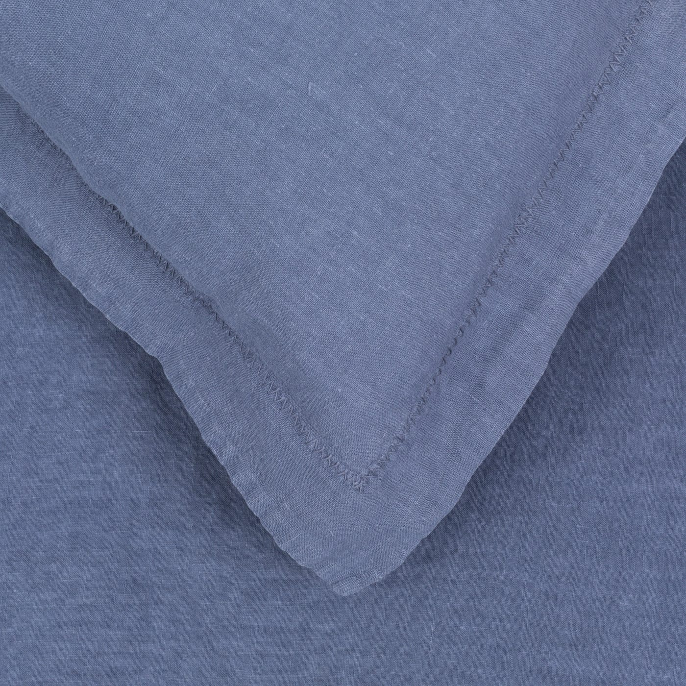 Washed Linen King Fitted Sheet Blue