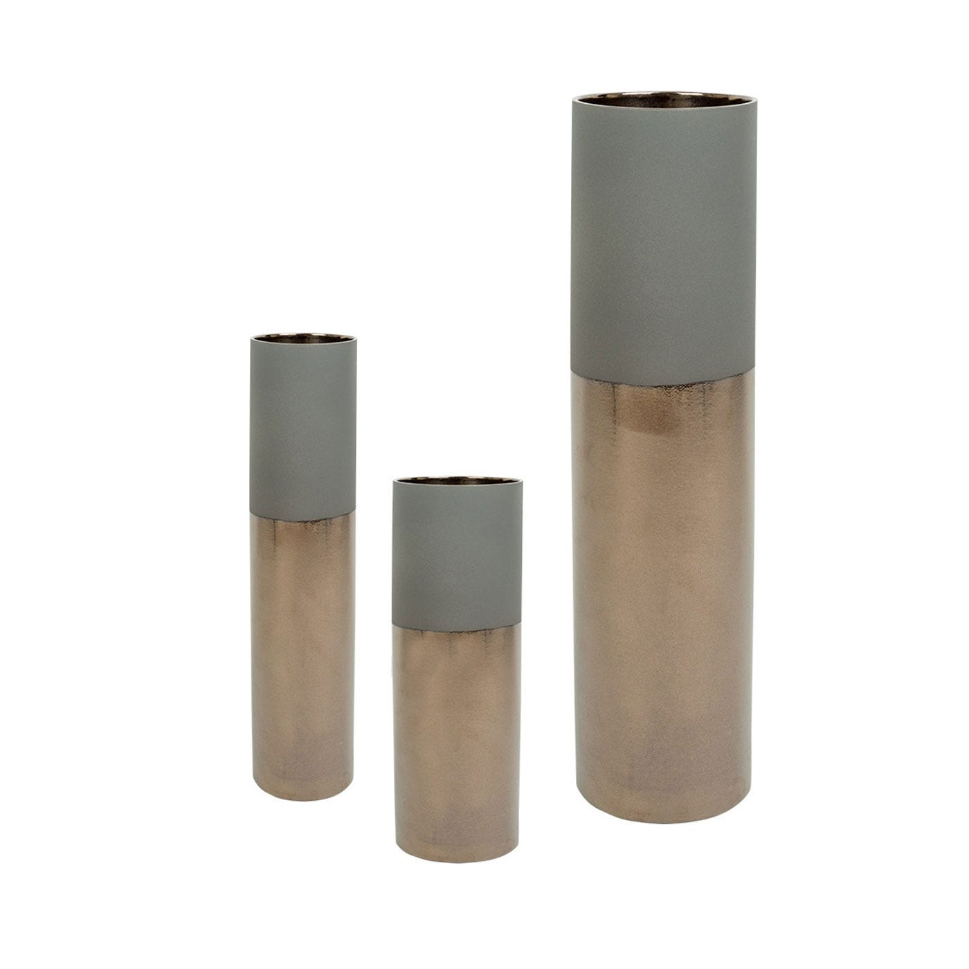 Dual Tone Vase Grey & Metallic