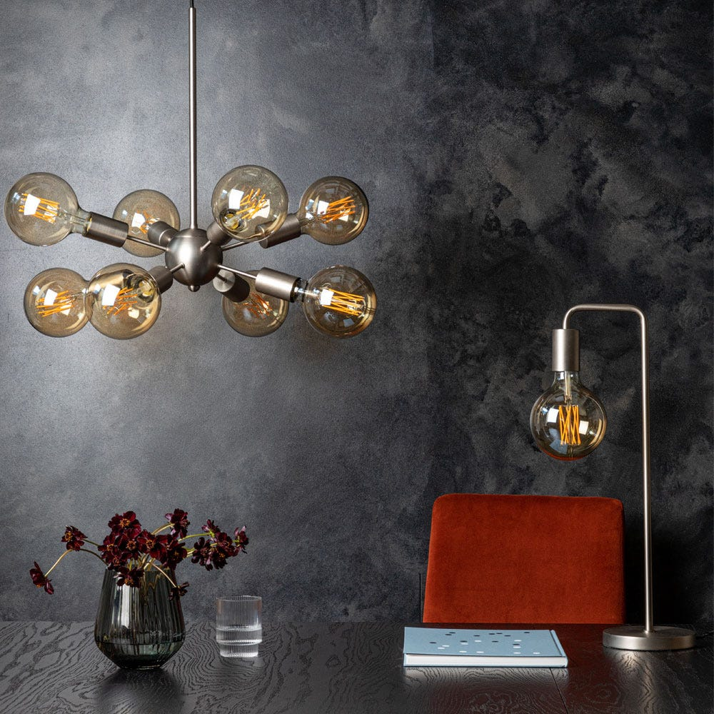 As shown: Junction table light and chandelier in satin nickel