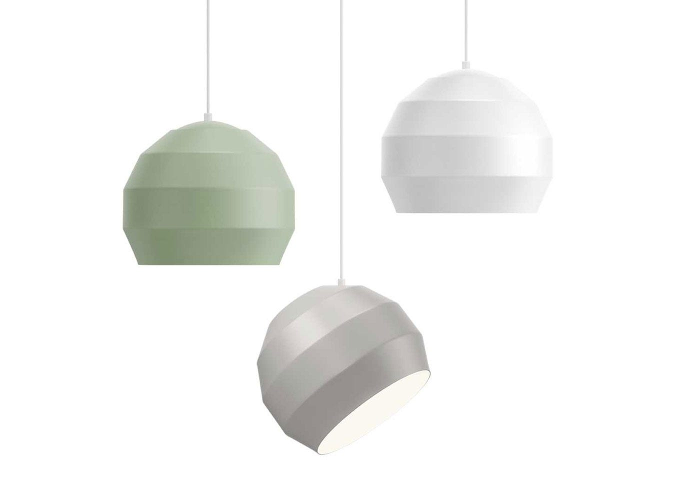 Pitch pendant hung in a cluster, from left to right: Pitch pendant green, Pitch pendant grey, Pitch pendant white